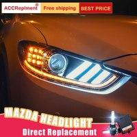 2Pcs LED Headlights For Mazda 6 2014 2015 led car lights Angel eyes xenon HID KIT Fog lights LED Daytime Running Lights