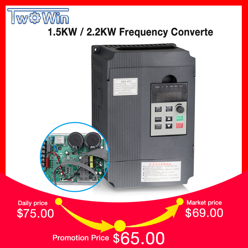 Twowin1 5KW 2 2KW 220V Single phase inverter input VFD 3 Phase Output Frequency Converter Adjustable