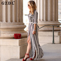 2016 Dresses Women Long Sleeve Striped Button Down Side Split Casual Loose Spring Summer Long Maxi Shirt Dress Vestidos CL2910