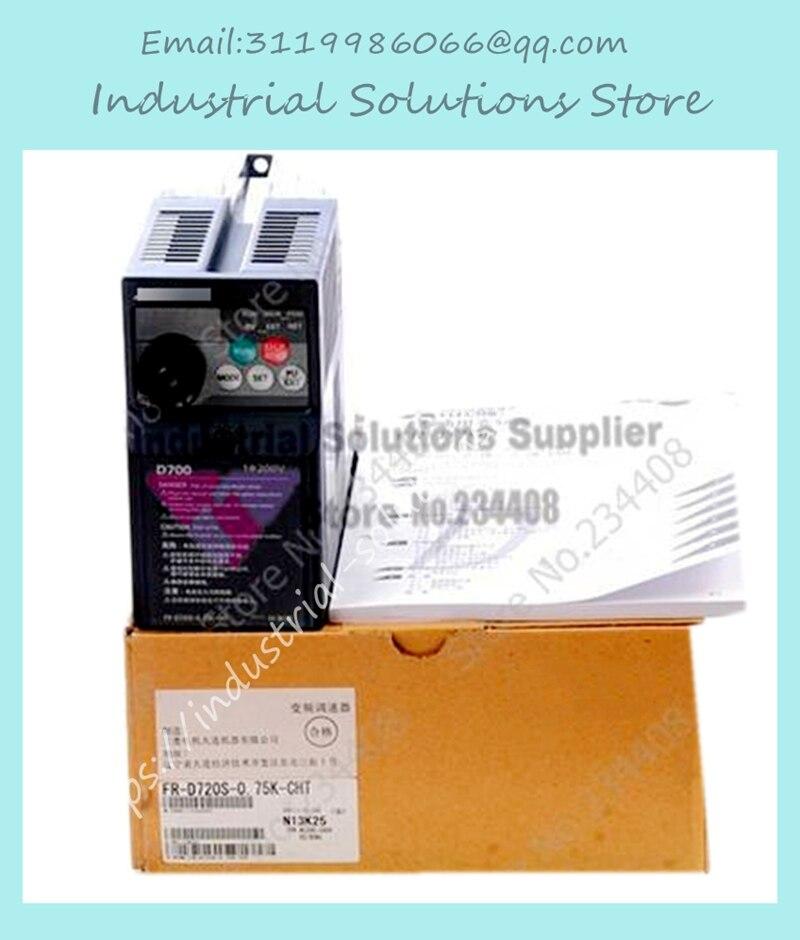 New Input 1 ph 220V Output 3 ph FR-D720S-0.75K-CHT Simple Type Variable Frequency Drive Inverter 200~240V 4.2A 0.75KW 0.2~400Hz new original inverter 30400v fr e720s 2 2 k cht