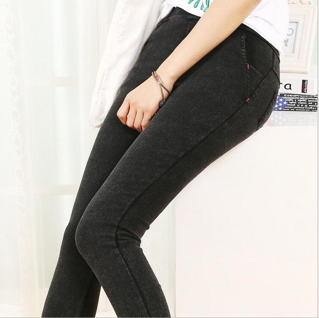 New Euro-American style Women skinny Faux Jeans Leggings Ladies Plus Size High Waist Black Washed long Denim pants Jeggings