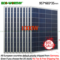 1000W NEW 10pcs 100W 18V Polycrystalline Solar power Panel system for 12v Battery Charger Off Grid Poly 1000W Solar Panels 1000W