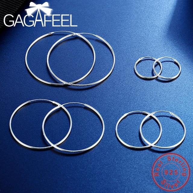 GAGAFEEL S925 Sterling Silver Hoop Earrings Simple Jewelries for Women Female Silver Earrings 15/20/25/30/40/50mm