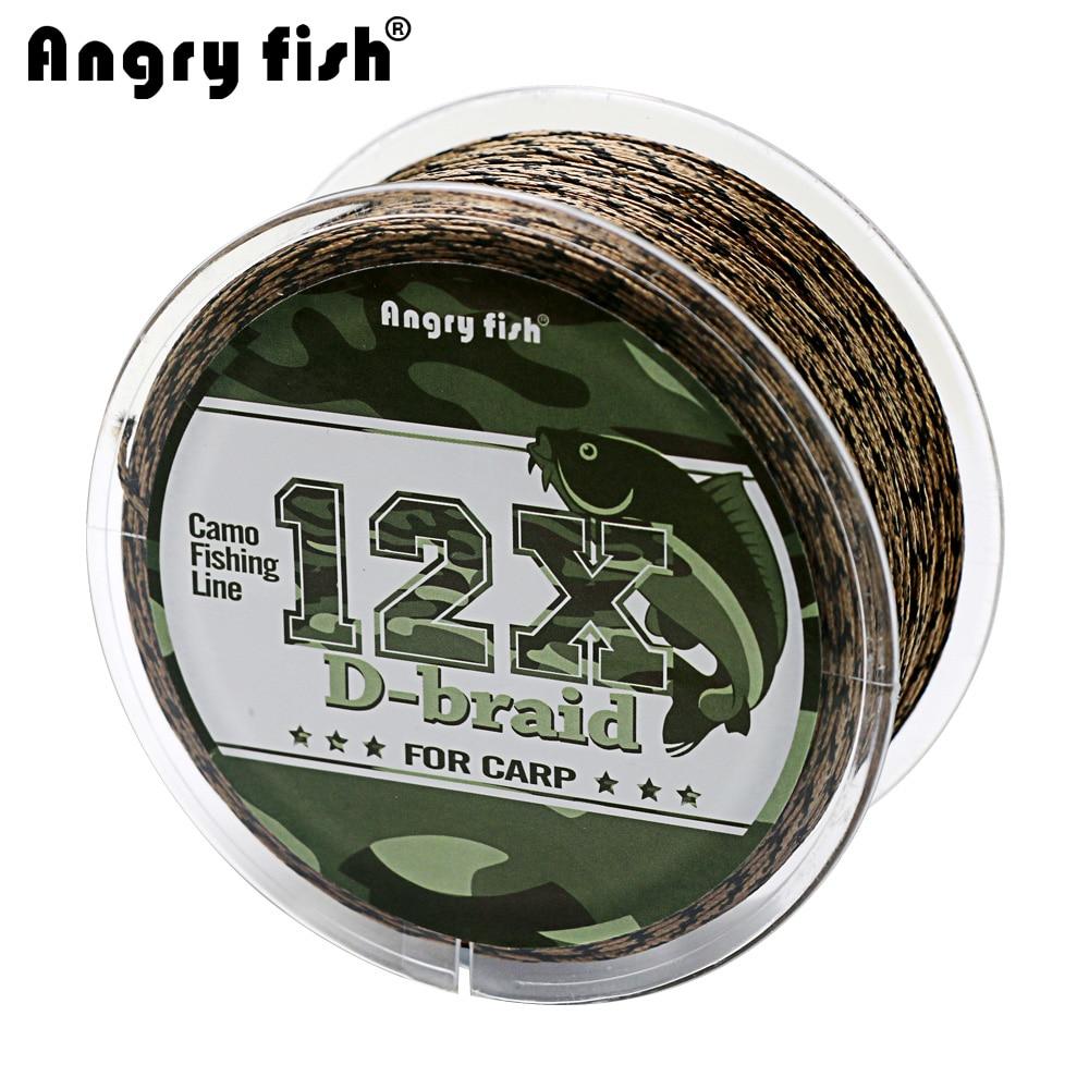 Angryfish Carpa Linea di Pesca 12 Fili Del Tessuto D-braid 100 Metri Camo Intrecciato PE Pesce Linea