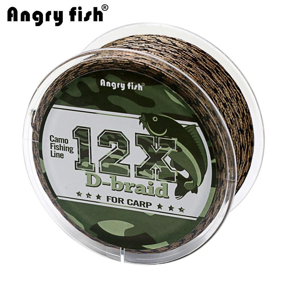 Angryfish carpa pesca Línea 12 hebras tejido d-trenza 100 metros Camo trenzada PE pesca línea