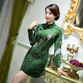 Winter New Green Vintage Women's Improved Wool Mini Cheongsam Fashion Chinese Style Dress Autumn Winter Qipao Size M L XL