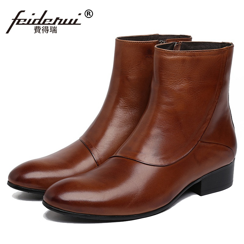 New Arrival Man Luxury Brand Cowboy Western Shoes Male Designer Genuine Leather Round Toe Men's Cowboy Martin Ankle Boots KE62 krusdan luxury brand platform man handmad outdoor ankle boots genuine leather round toe classic men s cowboy martin shoes