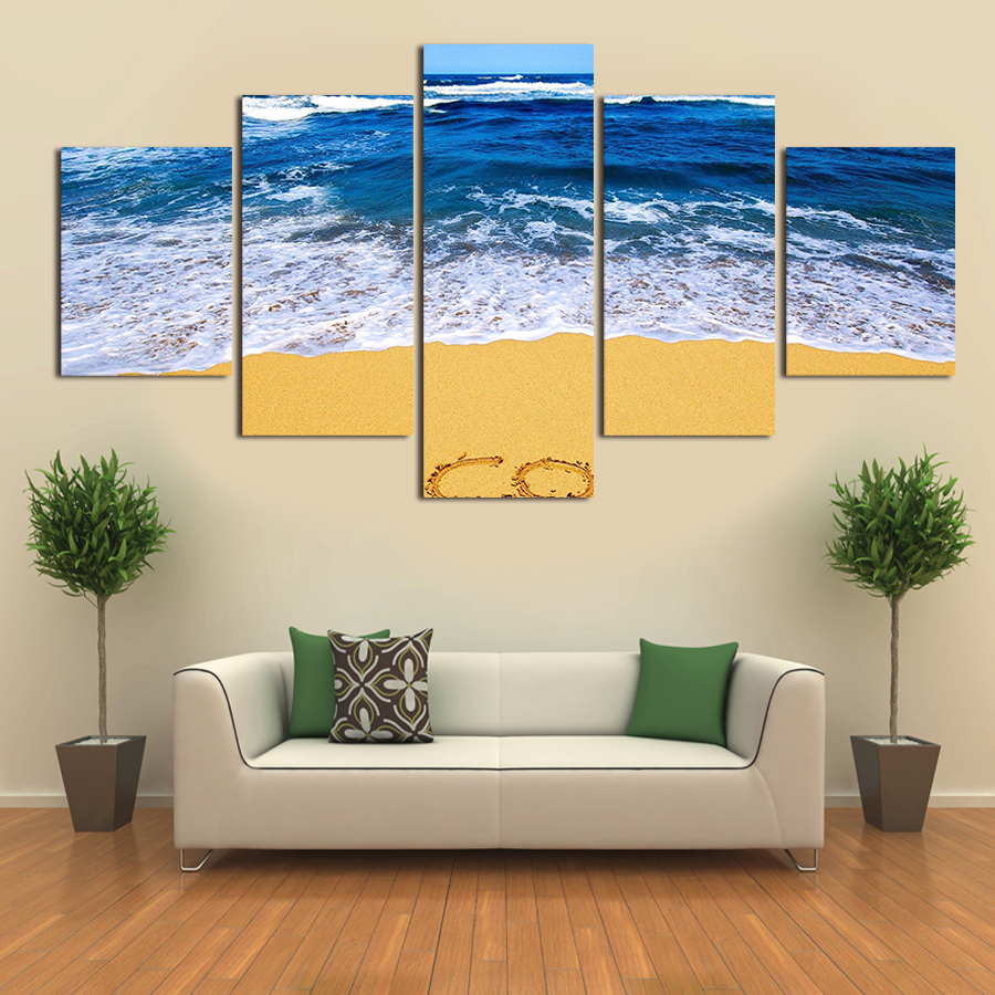 웃 유No Marcos 5 panel moderno puesta de sol y el Lago lienzo ...
