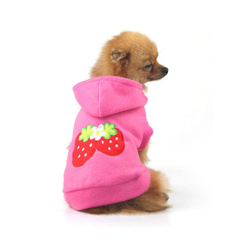 2018 New pet Dog Clothes Hot Sale Strawberry Pattern dog Hoodies for chihuahua Pet Dog Clothing winter Coats For Dogs XS-XXL