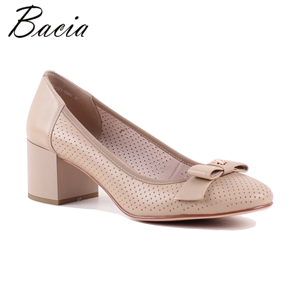 Bacia New Women Pumps shoes Square Heel Pointed Toe High-heeled Women Shoes Fashion Shoes Handmade Shoes Size 35-41 MWB018