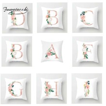 Fuwatacchi Color A-Z Letter Cushion Cover Pink  Soft Throw Pillow Decorative Sofa Case Pillowcase