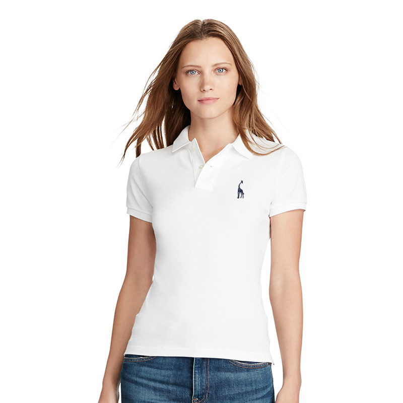 Dropshipping GustOmerD 2019 New Polo Giraffe Women's Polo Solid Slim Fit Deer Embroidery Polo Shirt Women Off White Tops