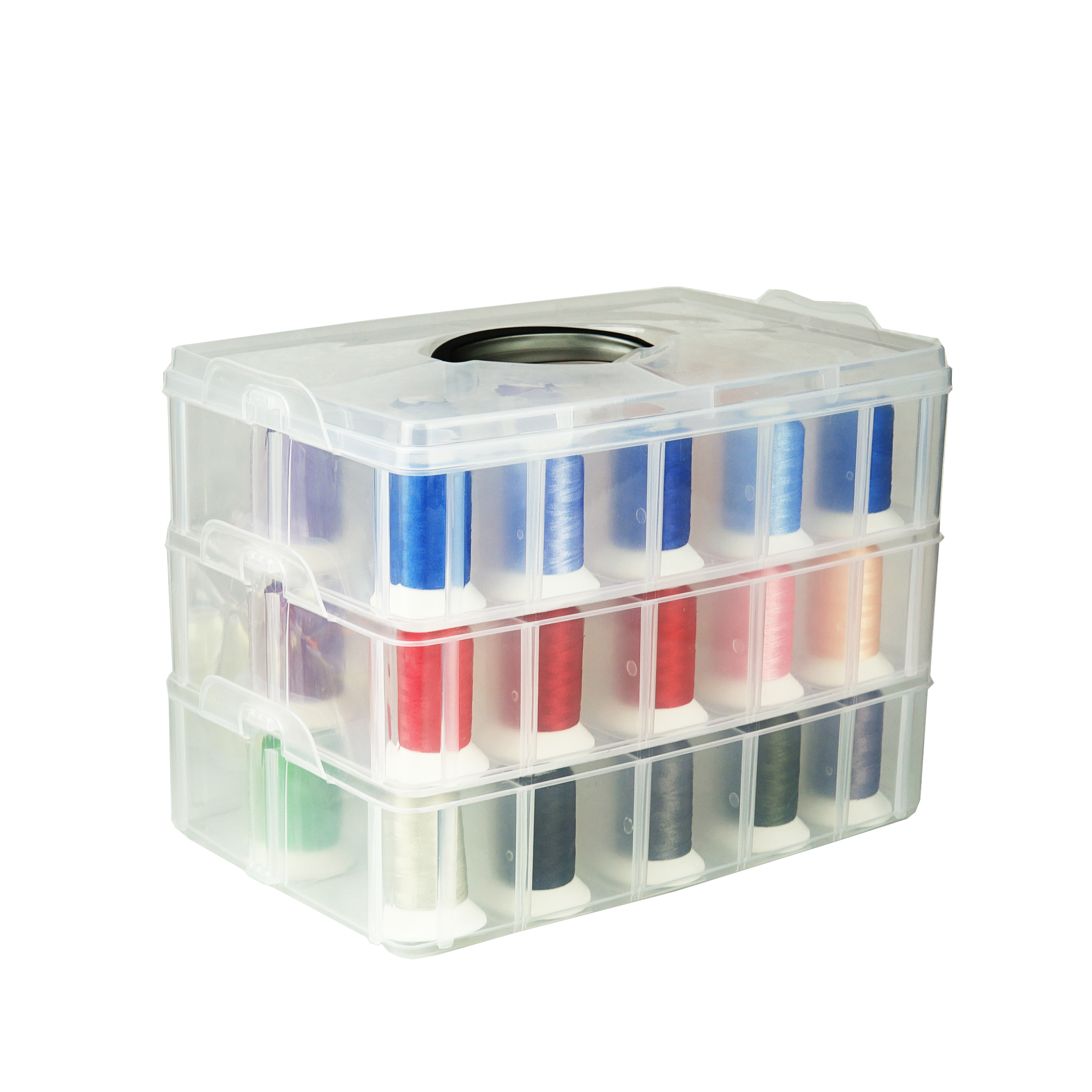 Hot Selling 120D 2 40WT 1000m cone polyester embroidery thread with 61pcs kit plastic box DHL