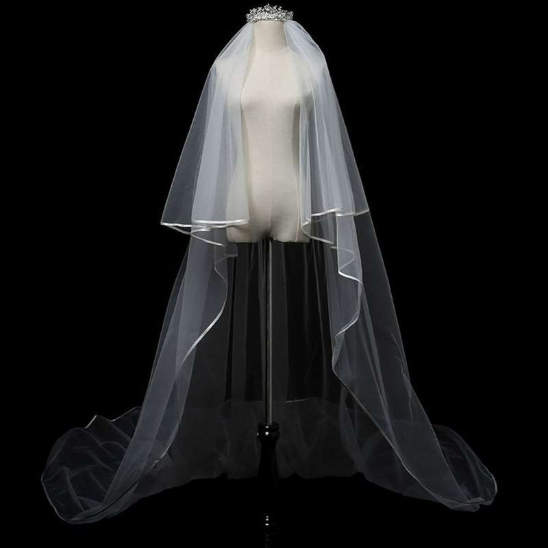2 Tier Double Layer Women Cathedral Length Wedding Veil Overlocking Piping Ribbon Trim Trailing Bridal Veil Luxury Party Costume