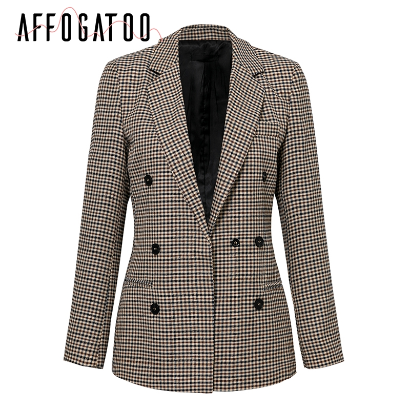 Affogatoo Fashion double breasted plaid blazer women Long sleeve slim OL blazer 18 Casual autumn jacket blazer female 7