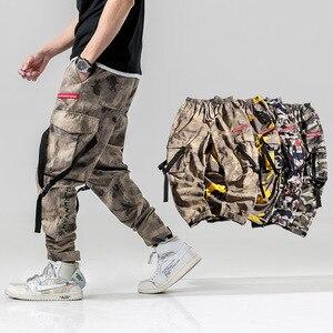 Image 2 - הרמון מכנסיים הסוואה גברים מטענים צפצף טקטי Streetwear צפצף צהוב מקרית Camo מכנסיים רב כיס 2019 אביב WG219