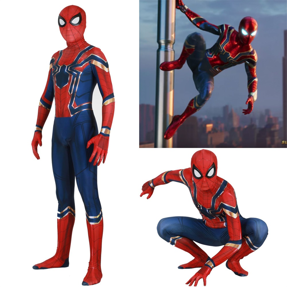 Unisex Kids The Avengers Infin Spiderman Cosplay Costume Zentai Blue Iron Spider Superhero Bodysuit Suit Jumpsuits Halloween