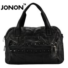 JONON Genuine Sheepskin Luxury Brand Women Handbag Vintage Stitching Patchwork Leather Rivets Bags Totes Beach Clutches WHB031