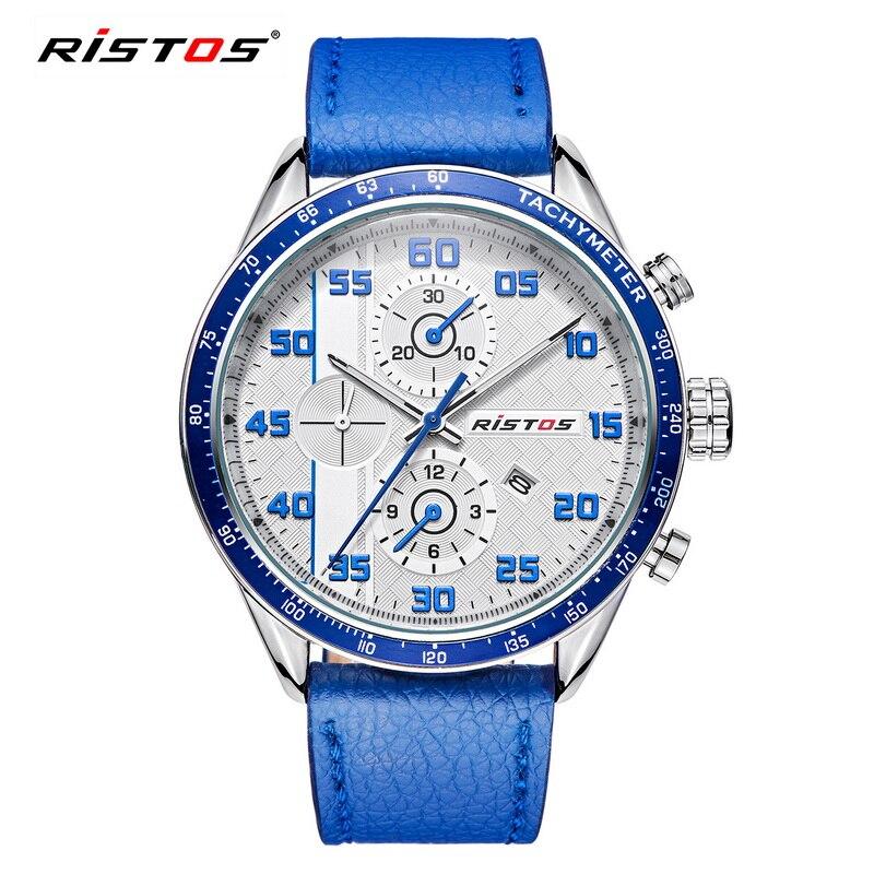 RISTOS Hot Sale Sport Men Watch Mens Calendar Genuine Leather Quartz Watches Male Fashion Military Waterproof Wristwatch Relojes