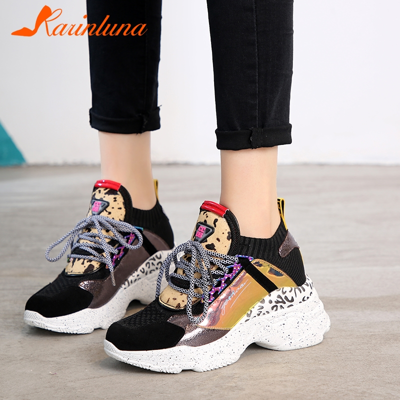 KARINLUNA 2019 New Spring Genuine   Leather     Suede   Sneakers Female Lace Up Horsehair Decoration Casual Shoes For Ladies Shoes Woman