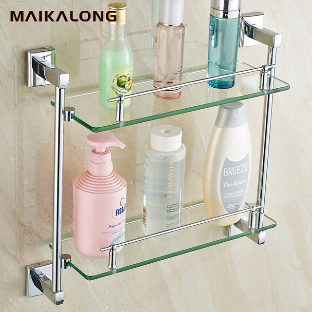 square design double bathroom shelvesglass shelf chrome finish baseglass shelves - Bathroom Accessories Glass Shelf