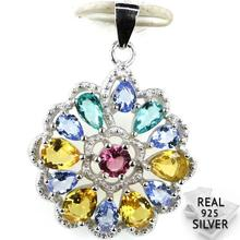 Guaranteed Real 925 Solid Sterling Silver 4.0g Colorful Tourmaline Aquamarins Citrine CZ Pendant 29x21mm