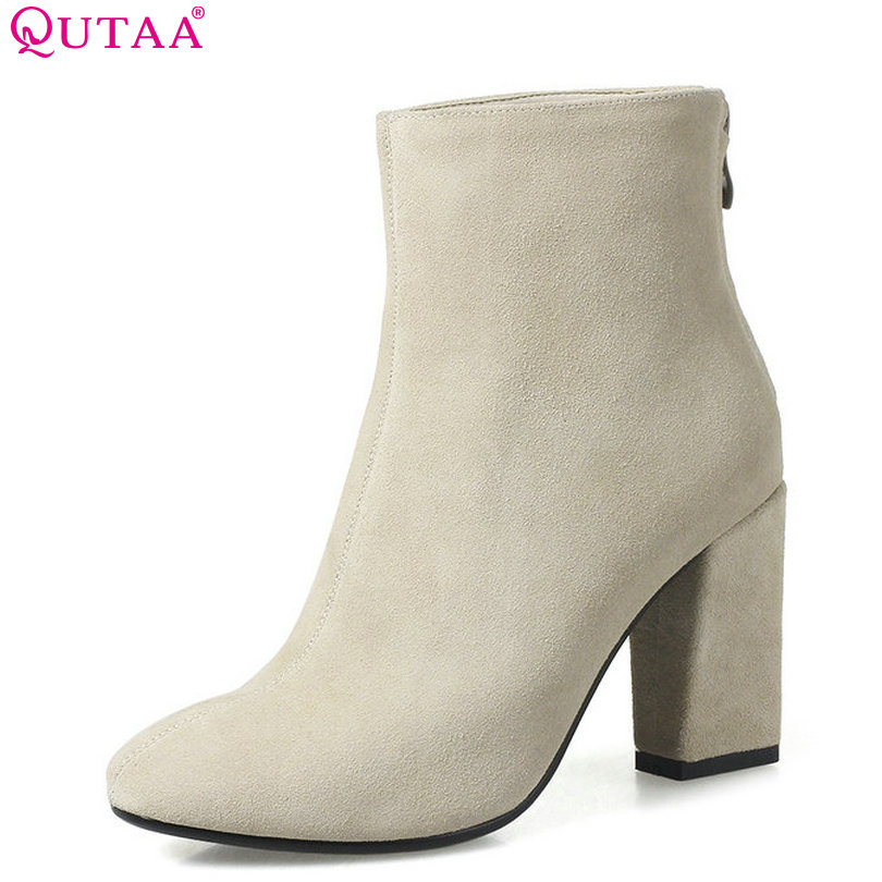QUTAA 2018 Women Ankle Boots Cow Leather + Pu Pointed Toe Square High Heel Zipper Fashion Women Motorcycle Boots Size 33-43 vinlle women boot square low heel pu leather rivets zipper solid ankle boots western style round lady motorcycle boot size 34 43