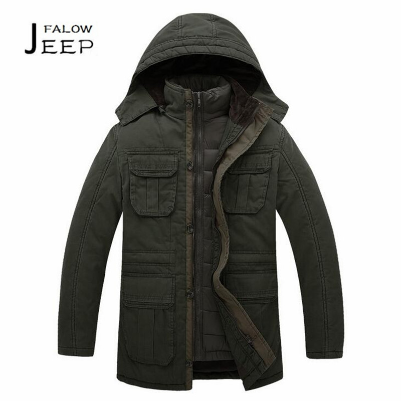 Falow JI PU Detachable Liner Double Thick Layers Winter Military Long Coat,100% Nature Cotton Male Cargo field working coats