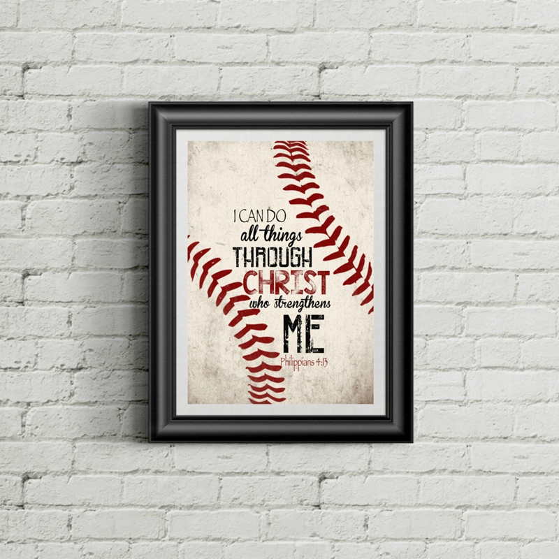 Us 2 57 20 Off Philippians 4 13 Christian Baseball Vintage Posters Art Prints Christ Quotes Canvas Painting Boy Room Retro Picture Wall Decor In
