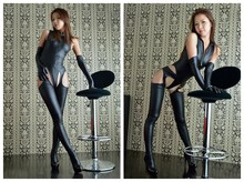Hollow Sexy Cosplay High Cut Backless Bodysuit Faux Leather Club Wear Catsuit Thong Body Suits Sexy Bodysuits Top+Pant+Glove