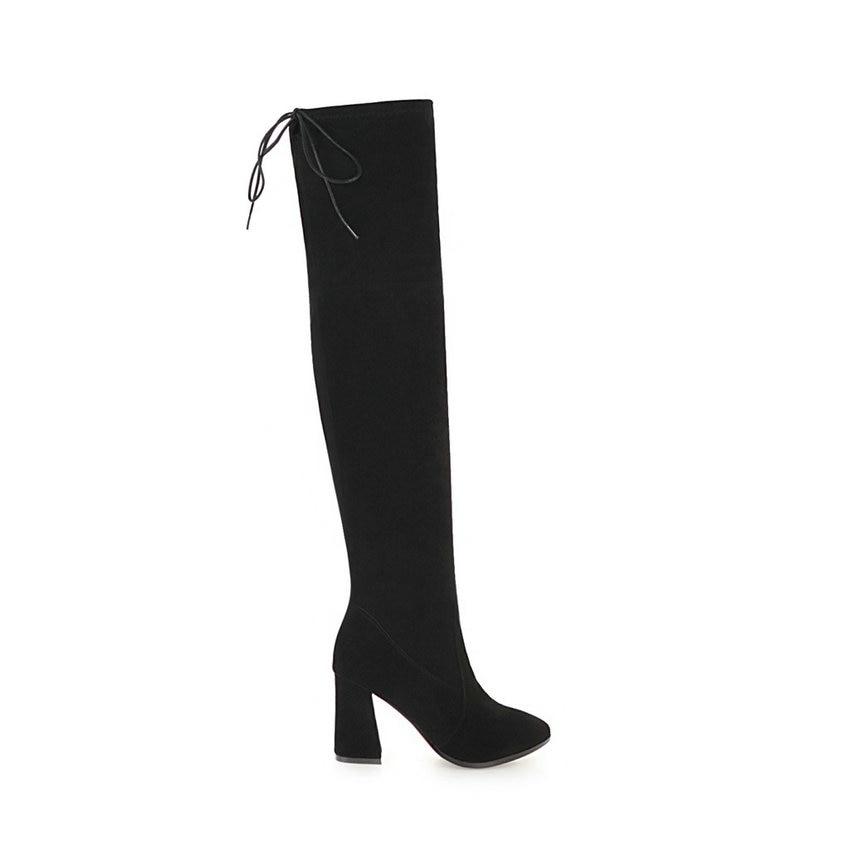 Taille Bottes Chaussures Femme De 43 Talons D'hiver Troupeau Nikove Sur Le 34 Genou Carré Noir Base Automne Femmes 2019 Hauts doCxeB