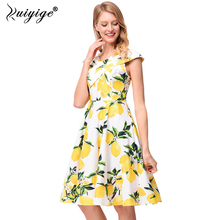 Ruiyige 2018 Vintage Sexy Women Bandage V-neck Empire Lemon Prnt Floral Dresses Summer Spring A-line Sleeveless Vestido Bandage