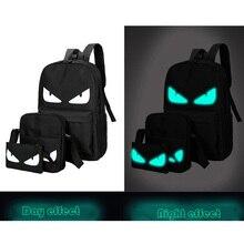 SENKEY Style Для мужчин модный рюкзак для путешествия мягкий светящийся в темноте мужской школьный портфель с анимэ для девочки или мальчика-подростка, популярный портативный рюкзак для компьютера