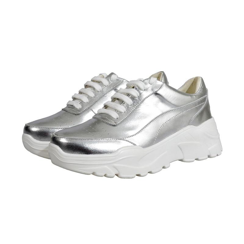 Redonda Deporte De Blanco Sneakers Mujer Zapatillas Zapatos Cuero Plataformas Vaca Punta Las Tamaño Creepers Señora Sneakers Top Silvery 43 Calidad Mujeres Casuales Ocio white 0zqn61