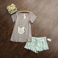 3dbb305897e2 Cute pajamas sets with white and pink  grey and green color coffee ...