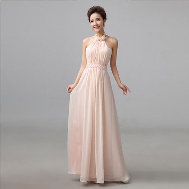 Light pink halter dress long