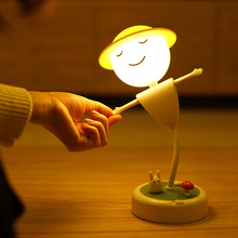 art deco scarecrow night light USB rechargeable LED night lamp creative boy cute cartoon girl children bedroom bedside lamp gift