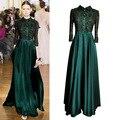 2016 Высокое Качество Нового Способа Прибытия Благородный Элегантный Вырез Блестка Темно-Зеленый Расширение Нижней Dress Длина Пола Maxi Dress