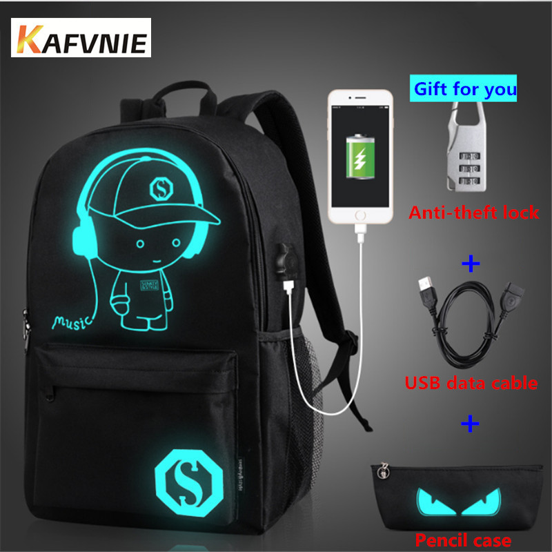 Kafvnie Men's Charging Backpack Luminous Students School Bags External Usb Charge Laptop Backpacks Teenagers Casual Travel Demon