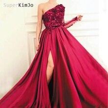 SuperKimJo One Shoulder Prom Dresses 2019 Applique A Line Satin Red Elegant Gown Robe De Soiree