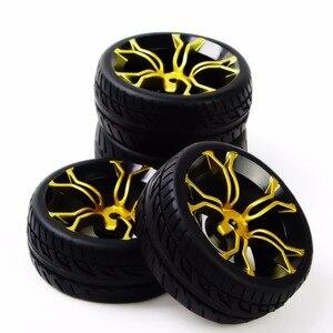 Image 4 - Neumáticos de coche a control remoto, neumático de caucho y Llanta de rueda, modelo de juguetes, 4 Uds., neumáticos y ruedas para HSP HPI RC 1:10, coche de carreras plano PP0150 + MPNKG