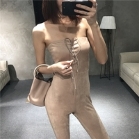 2017 Polyester Solid Real Enteritos Mujer Scandinavian Women's One-piece Pants Early Spring Blank Tie Tight Top Suede Sexy Slim