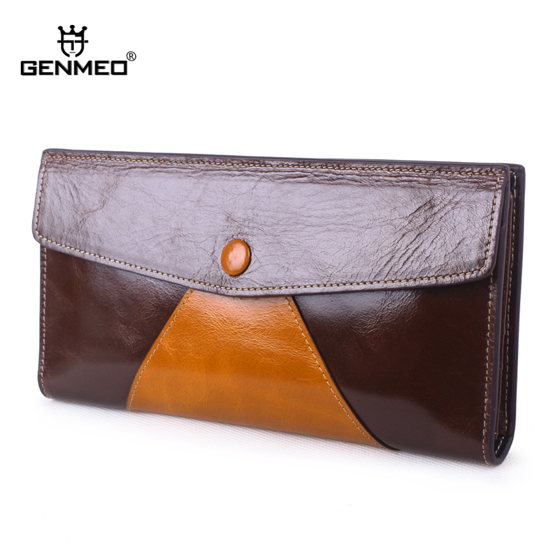 MAIFEINI New Arrival Vintage Genuine Leather Wallets Women Card Holders Purse Sexy Ladies Clutch Money Bag Leather Handbag new arrival 2017 wallet long vintage man wallets soft leather purse clutch designer card holders business handbags clips