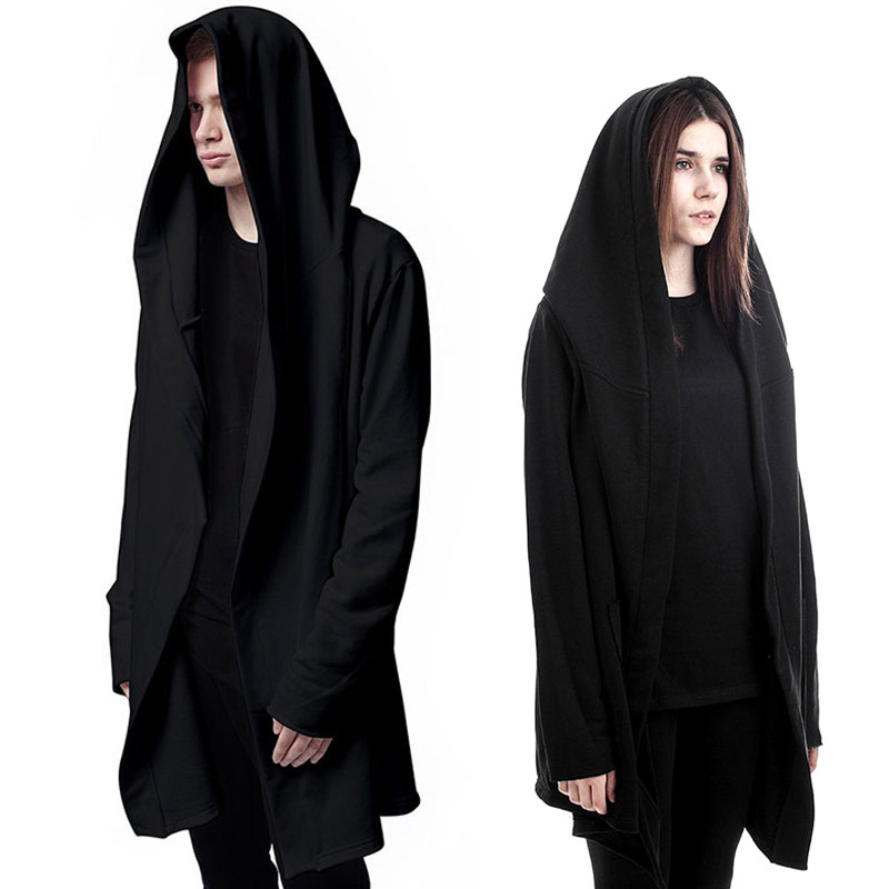 Men's hoodies cotton casual hoodies Long Section of The Hooded Cloak Cape Cardigan men hip hop Hoodie sweatshirt Jacket