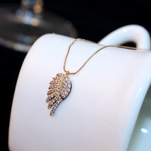 CX-Shirling Rose Gold Plated Crystals Wing Pendant Necklace for Valentines Day Gift Feather Angel Pendants