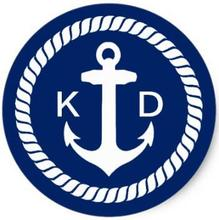 1.5inch Nautical Anchor & Rope Wedding Favor Classic Round Sticker