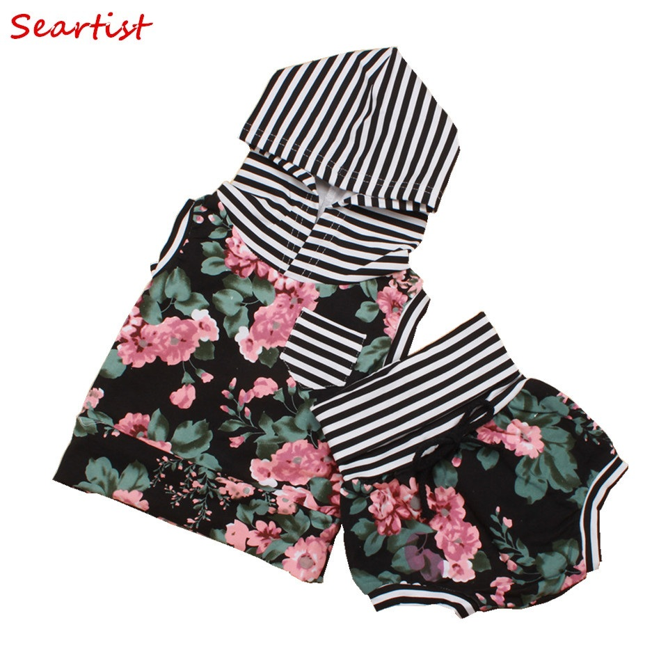 Seartist Baby Girls Summer Clothing Set Girl 2Pcs Suit Hooded T-shirt+Shorts Girl's Floral Set Baby Girl Clothes 2018 New 23