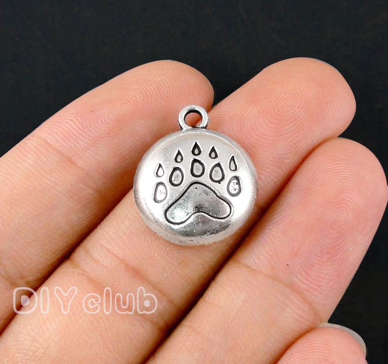 50pcs-Paw Charms, Antique Silver  Bronze Bear Claw Charms Pendant  20x17mm