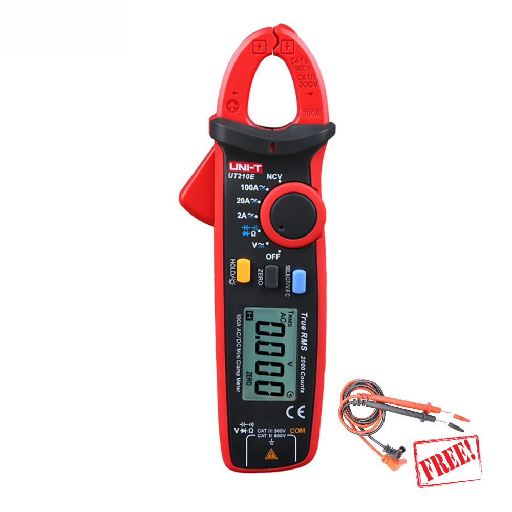 UNI T UT210E Clamp Meter Multimeter True RMS Auto Range data show amperimetro capacitance meter multimetro current clamp 1 GIFT