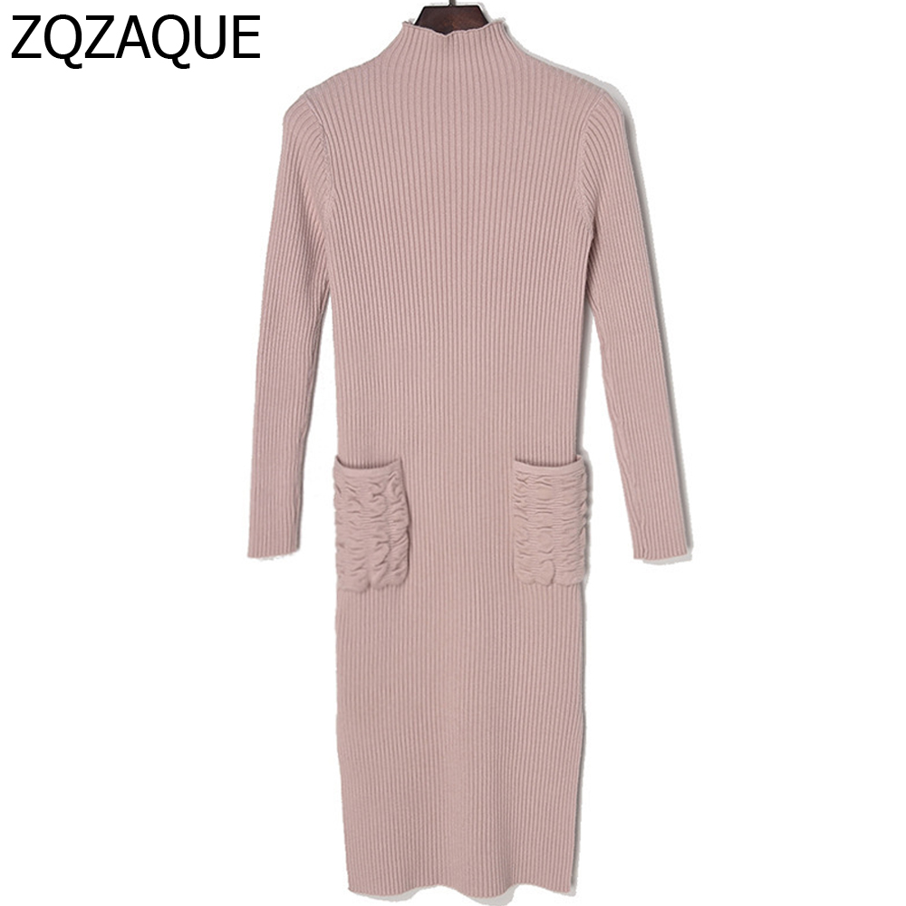 Factory New Fall Winter Solid Color Bottom Long Dress For Women Fashion Half Turtleneck Long Sleeve Pocket Knitted Dress SY1482 floor length pocket turtleneck long sleeve dress